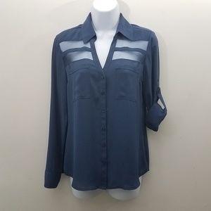 Express Top Small Portofino Blue Shirt Button
